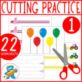 22 fun worksheets, I can use scissors level 1, Developing Cutting Skills