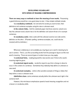 DEVELOPING VOCABULARY WITH SPEED READING COMPREHENSION