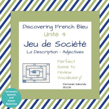 DF Bleu - Unité 4 - La Description - adjectives  - Board Game