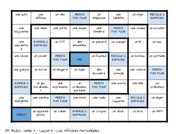 DF Bleu - Unité 4 Leçon 9 - Les Affaires Personnelles - Board Game