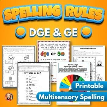 DGE and GE Spelling Rule Activities