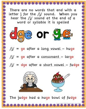 DGE and GE Spelling Rule Activities by Tammys Toolbox | TpT