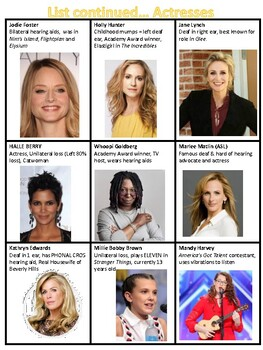 DHH Famous People with Hearing Loss Booklet