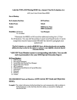 DHH or Special Education IEP Report Template