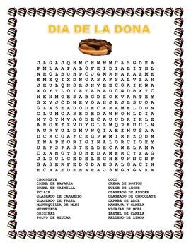DIA DE LA DONA- 2 de Junio - Word Search - Food in Spanish