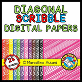 SCRIBBLE DIGITAL PAPER BACKGROUNDS TEXTURED RAINBOW CLIPART