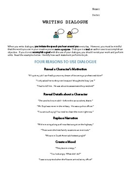 DIALOGUE - The Four Purposes and Writing Exercise