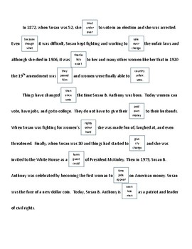 DIBELS - DAZE practice Sheet (Susan B. Anthony/Cesar Chavez)