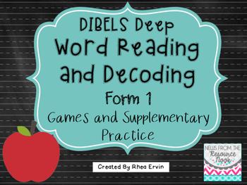 DIBELS Deep: WRD Form 1- Games and Supplementary Activities