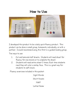 DIBELS Fluency Intervention Packet