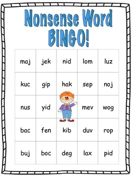 DIBELS NWF BINGO Game!  Fun Nonsense Word Practice!