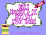 DIBELS NWF Nonsense Word and CVC Sort!  Fun Crayon Theme!