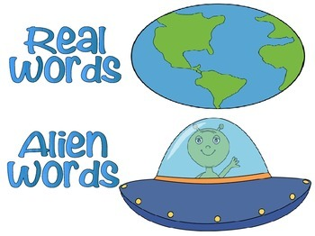 DIBELS NWF and CVC Word Sort- Alien Theme