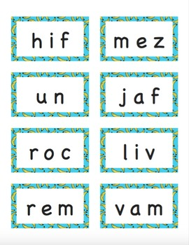DIBELS Next Nonsense Word Fluency Flashcards (300 in SIX Patterns)