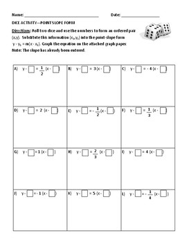 point slope form activity  DICE ACTIVITY - Point Slope Form fill in with graphing - GEOMETRY