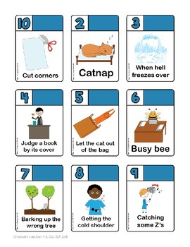 DICE-O Idiom Card/Dice Game for Speech Therapy -- figurative language