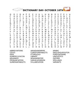 DICTIONARY DAY OCTOBER 16TH WORD SEARCH