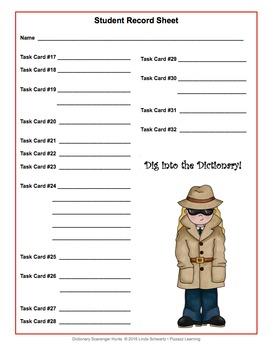 DICTIONARY SCAVENGER HUNTS TASK CARDS • GRADES 4–6