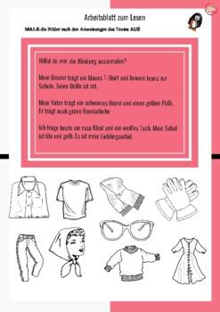 DIE KLEIDUNG fun reading and writing worksheet. Clothing in GERMAN