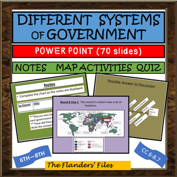 DIFFERENT SYSTEMS OF GOVERNMENT POWER PT, MAP ACTIVITY, GAME, QUIZ - A