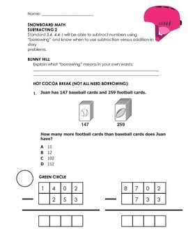 DIFFERENTIATED ADD, SUB, MULTIPLY, DIVIDE 3RD/4TH GRADE HOMEWORK (SNOWBOARD)