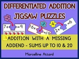 ADDITION ACTIVITIES: ADDITION PUZZLES: ADDITION WITH A MISSING ADDEND CENTER