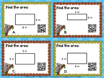 DIFFERENTIATED Area Task Cards with QR Codes | Print and Go!