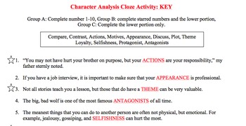 DIFFERENTIATED Character Analysis Vocabulary Cloze Activity