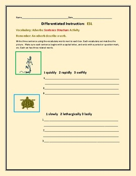 DIFFERENTIATED INSTRUCTION:ESL VOCABULARY ACTIVITY:ADVERBS::GRADES 5-9