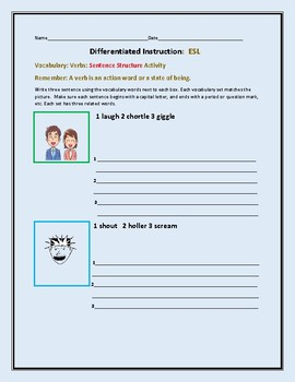 DIFFERENTIATED INSTRUCTION:ESL VOCABULARY ACTIVITY: VERBS:GRADES 5-9