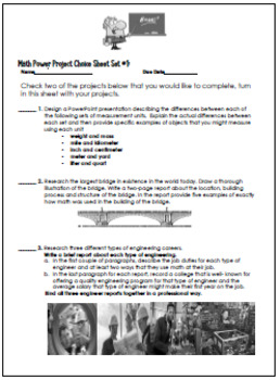 5th and 6th Grade Math Enrichment Projects, Print and Go! Set #1
