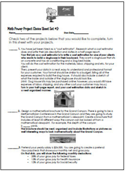 5th and 6th Grade Math Projects, Math Enrichment Print and Go! Set #2