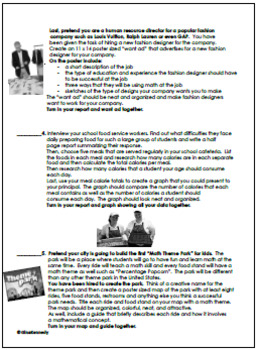 5th and 6th Grade Math Projects, Math Enrichment Print and Go! Set #4