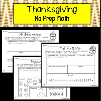 THANKSGIVING No Prep Math Story Problems