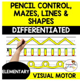DIFFERENTIATED PENCIL CONTROL MAZES, LINES + SHAPES on 3 lined paper