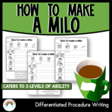 How to make a Milo | Differentiated Procedure Writing Worksheets