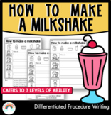How to make a milkshake   Differentiated Procedure Writing