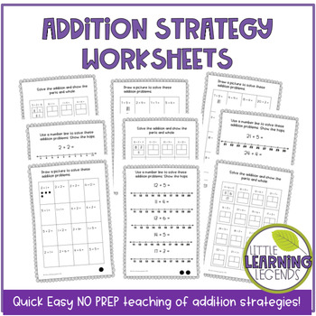 NO PREP addition strategy worksheets