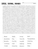 DIFFICULT Bugs Word Search and Coloring Page   (use in SUB PLAN?)