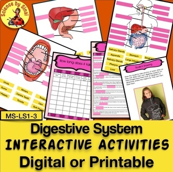DIGESTIVE SYSTEM INTERACTIVE ACTIVITIES Digital or Printable Notebook MS-LS1-3