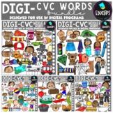 DIGI CVC Short Vowel Words - Movable Images Clip Art Bundle {Educlips Clipart}
