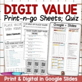 DIGIT PLACE VALUE PRINT & DIGITAL SHEETS DISTANCE LEARNING