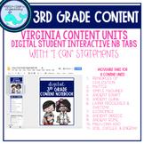 DIGITAL 3rd Grade Content Notebook Learning Target Tabs (VA)