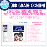 DIGITAL 3rd Grade Content Notebook Learning Target Tabs (VA)