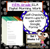 DIGITAL 5th Grade ELA Morning Work Bell Ringer Set 1