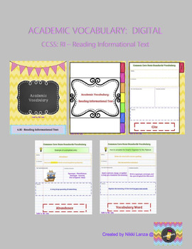DIGITAL Academic Vocab Flipbook for Google Drive CCSS:Reading Informational Text
