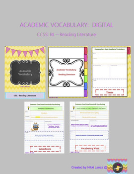 DIGITAL Academic Vocabulary Flipbook for Google Drive CCSS: Reading Literature