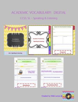 DIGITAL Academic Vocabulary Flipbook for Google Drive CCSS: Speaking & Listening