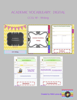 DIGITAL Academic Vocabulary Flipbook for Google Drive CCSS: Writing