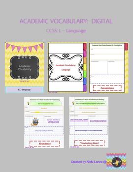 DIGITAL Academic Vocabulary Flipbook for Google Drive CCSS: Language